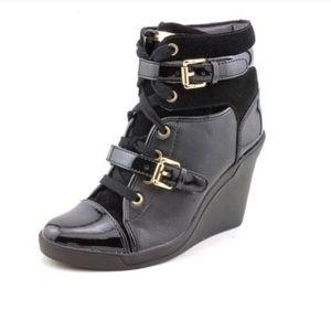 MICHAEL KORS Black LEATHER wedge BOOTS heels gold